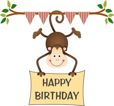 Mono que cuelga con un cartel de cumpleaños feliz