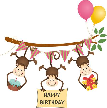 Cute three monkeys happy birthday Vector