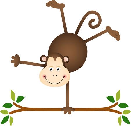 cute monkey: Cute monkey on a tree Illustration