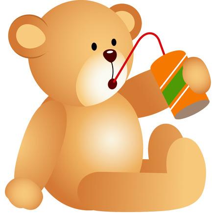 drinking soda: Teddy bear drinking soda Illustration