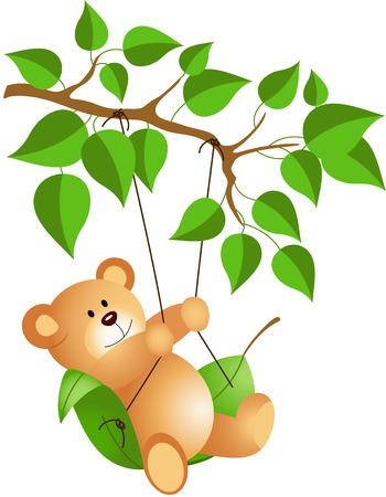 Teddy bear swinging from a tree Vector