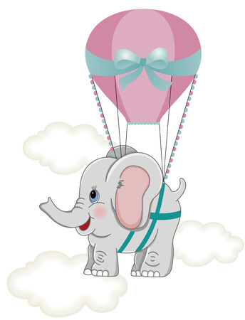 air animals: Baby elephant with hot air balloon