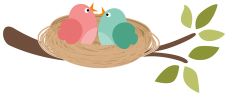 easter tree: Couple of birds in the nest