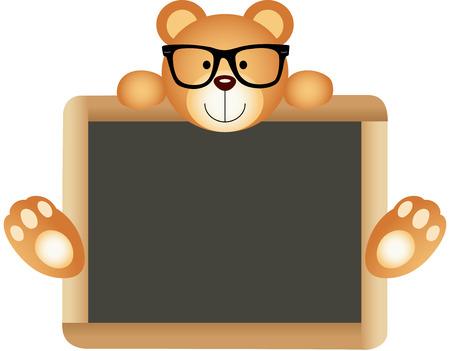 oso negro: Oso de peluche del profesor con la Junta Escolar