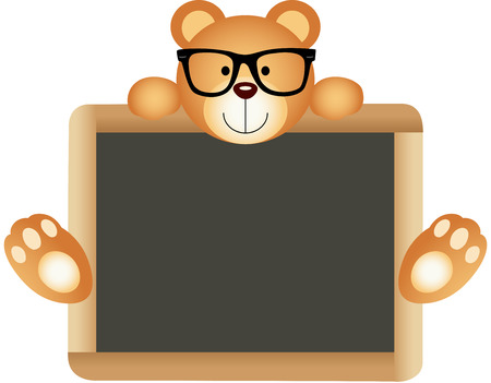blackboard cartoon: Teddy Bear Teacher with School Board Illustration