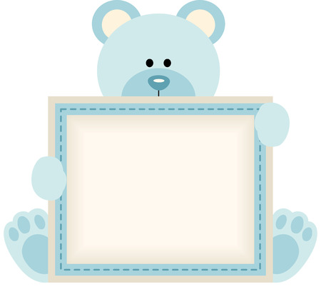 Cute teddy bear holding blank sign for baby boy announcement