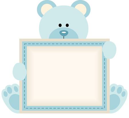 Oso de peluche lindo con signo en blanco para el anuncio bebé Foto de archivo - 35688236