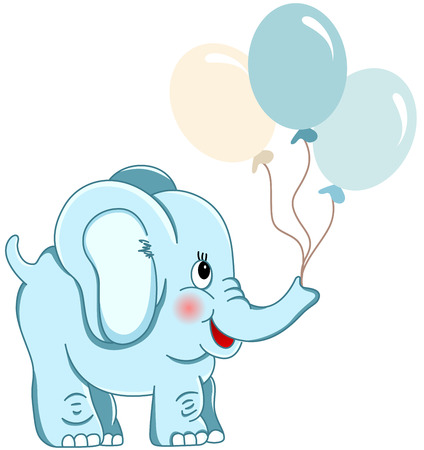 Cute blue elephant holding balloons Stock Vector - 35688288