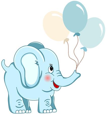 Sosteniendo los globos lindos elefante azul Foto de archivo - 35688288