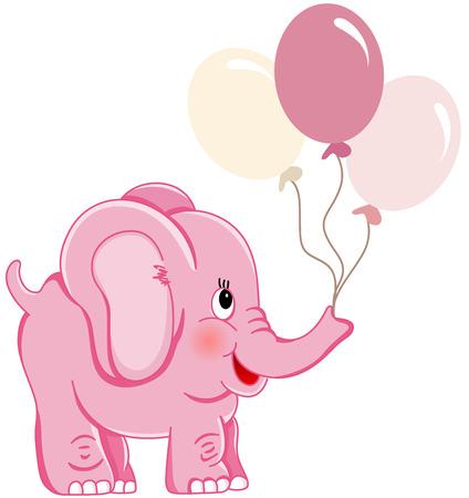 풍선을 들고 귀여운 핑크 코끼리 일러스트