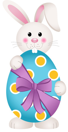 easter rabbit: Cute bunny holding an Easter egg