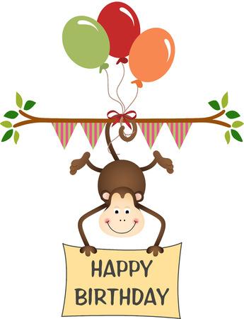 monkey clip: Monkey happy birthday with balloons