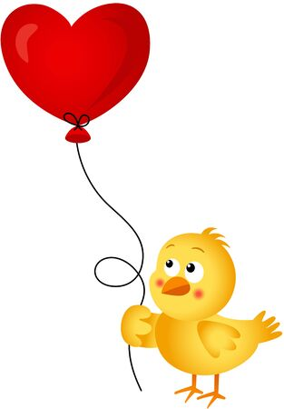 chick: Chick holding heart balloon