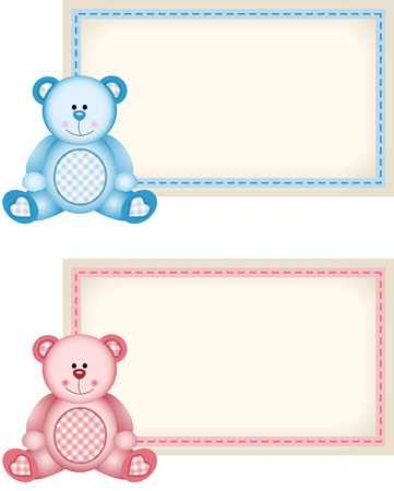 baby bear: Baby teddy bear pink and blue tag label