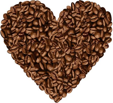 chicchi di caff�: A forma di cuore Chicchi di caff� Vettoriali