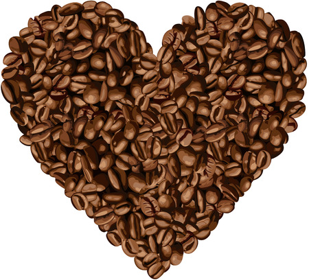 coffee harvest: Heart Shaped Coffee Beans Illustration