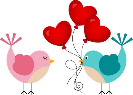 love bird: Love bird with heart balloons