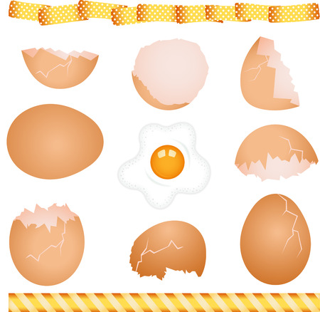 eat cartoon: Collage of eggs Illustration