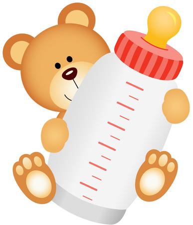 teteros: Teddy bebé oso con botella de leche Vectores