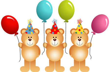 osos de peluche: Cumplea�os osos de peluche con globos