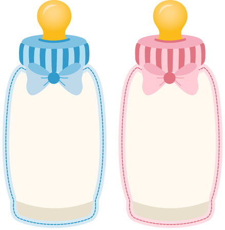 Baby bottle pink and blue tag label Vectores