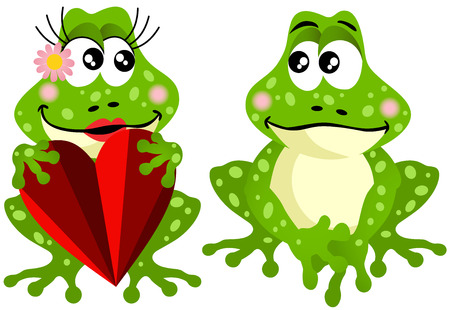 Frog couple holding red heart Vector