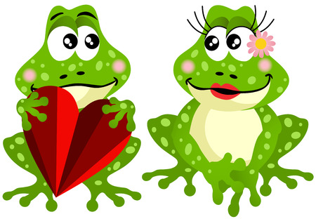 Cute frog couple holding red heart Vector