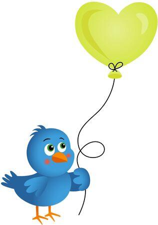Blue bird holding heart balloon Vetores