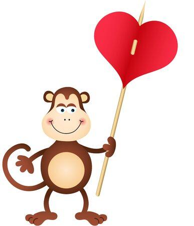 carries: Cute Scimmia porta il cuore
