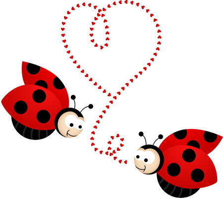 summer cartoon: Two cute ladybirds in love