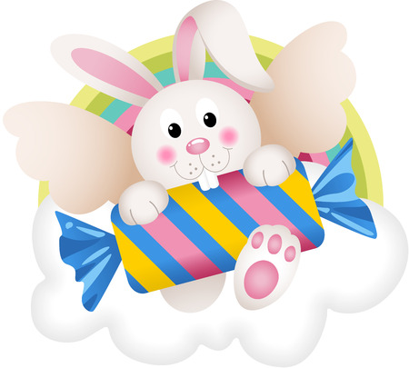 dainty: Bunny angel with candy on the cloud Illustration