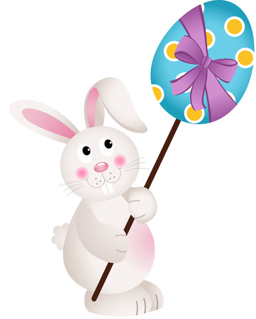 carries: Cute Bunny Carries Easter Egg