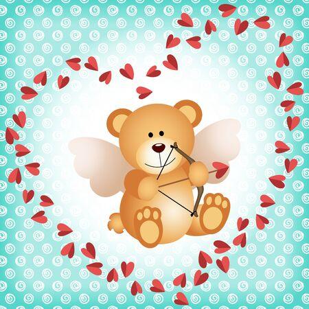 glamors: Cupid teddy bear on a background