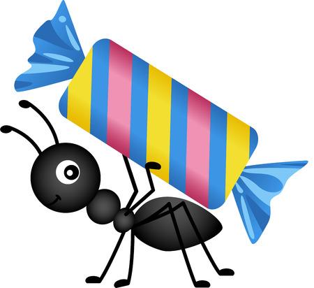 hormiga caricatura: Hormiga cargando un caramelo Vectores