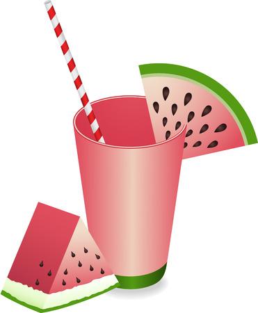 watermelon juice: Watermelon Juice Summer Refreshment Illustration