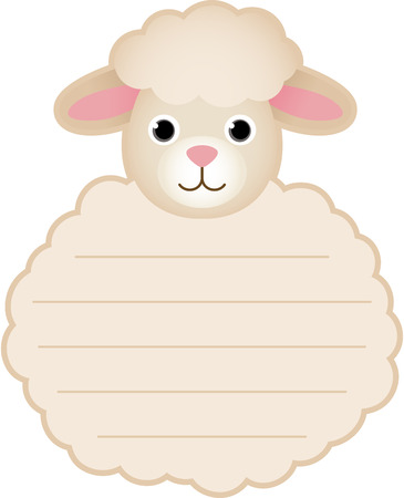 Cute sheep card tag label