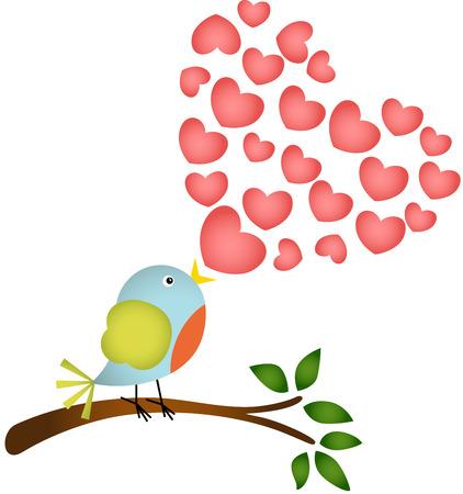 愛心の歌を歌う鳥  イラスト・ベクター素材