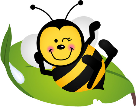 bee garden: Cute bee sitting on a green leaf Illustration