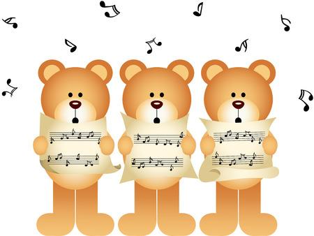 choir: Three teddy bears choir singing