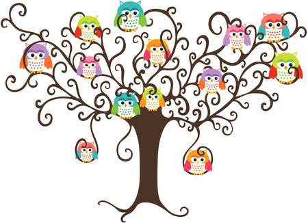 arboles de caricatura: Búhos coloridos en árbol bonito