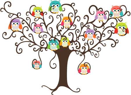 trees illustration: Colorful owls in pretty tree Illustration