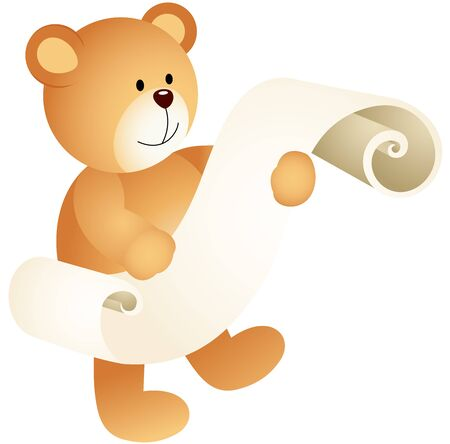 Teddy bear with a parchment