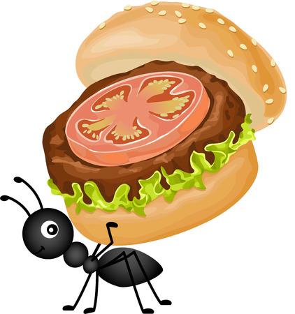 hormiga caricatura: Hormiga cargando una hamburguesa Vectores