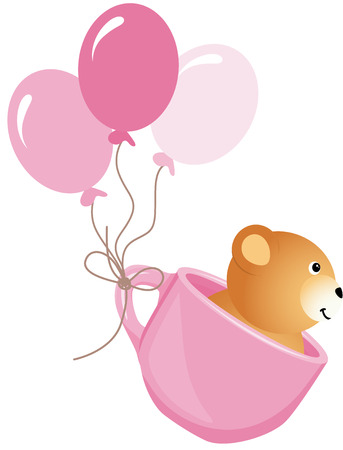 balloons teddy bear: Teddy bear flying in pink cup with balloons Illustration
