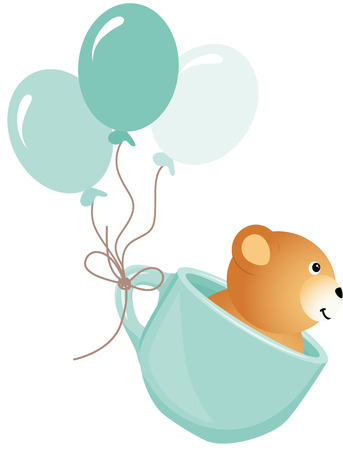 party balloon: Teddy bear flying in blue cup with balloons