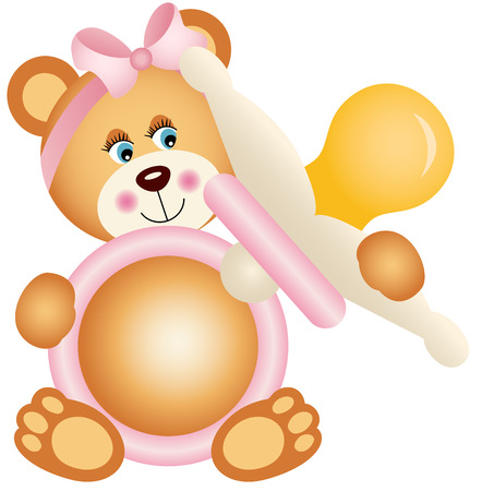 baby bear: Teddy bear girl holding pink baby pacifier