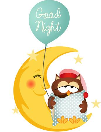 ni�o durmiendo: Bueno ave nocturna que sostiene un globo Vectores
