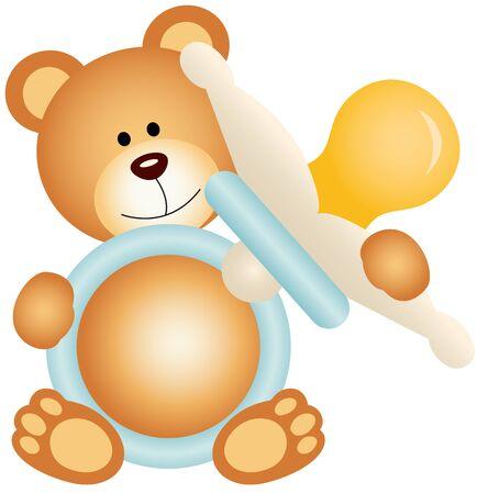 sucking: Teddy bear boy holding blue baby pacifier