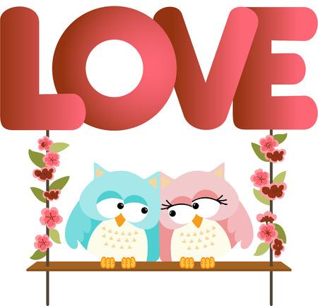jubilation: Love owls on a swing love word letters Illustration