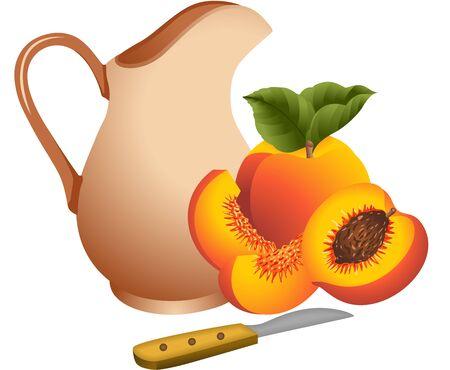 peaches: Clay jug with peaches